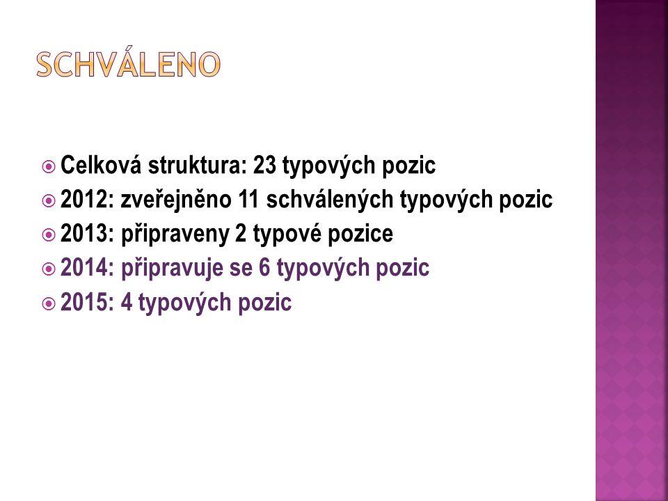  Celková struktura: 23 typových pozic  2012: zveřejněno 11 schválených typových pozic  2013: připraveny 2 typové pozice  2014: připravuje se 6 typových pozic  2015: 4 typových pozic