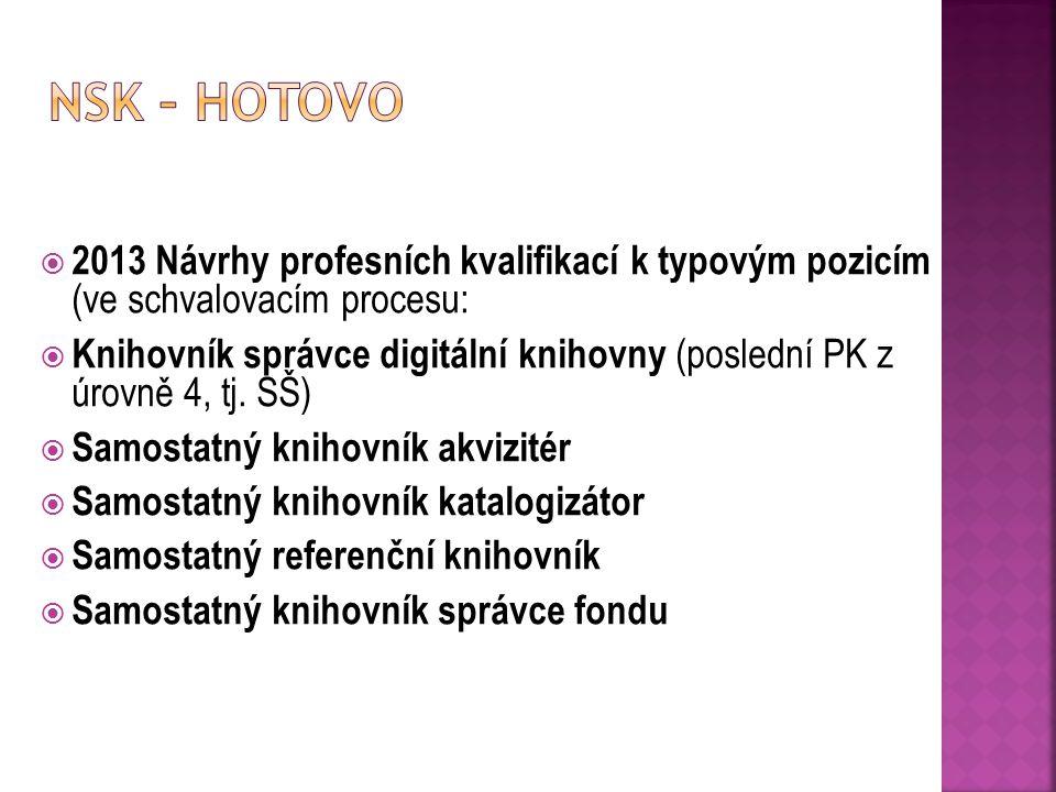  2013 Návrhy profesních kvalifikací k typovým pozicím (ve schvalovacím procesu:  Knihovník správce digitální knihovny (poslední PK z úrovně 4, tj.
