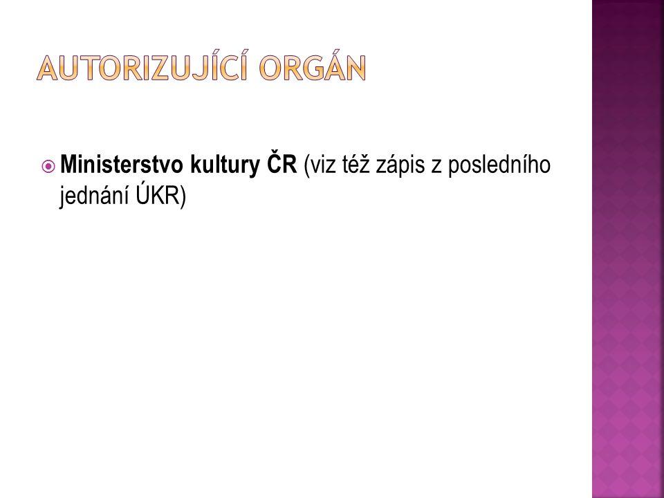  Ministerstvo kultury ČR (viz též zápis z posledního jednání ÚKR)