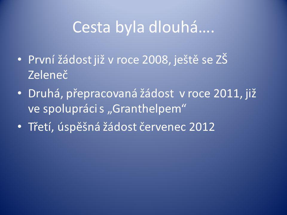 """Cesta byla dlouhá…. • První žádost již v roce 2008, ještě se ZŠ Zeleneč • Druhá, přepracovaná žádost v roce 2011, již ve spolupráci s """"Granthelpem"""" •"""