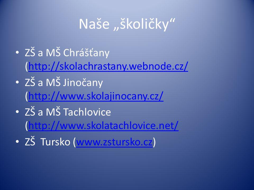 """Naše """"školičky • ZŠ a MŠ Chrášťany (http://skolachrastany.webnode.cz/http://skolachrastany.webnode.cz/ • ZŠ a MŠ Jinočany (http://www.skolajinocany.cz/http://www.skolajinocany.cz/ • ZŠ a MŠ Tachlovice (http://www.skolatachlovice.net/http://www.skolatachlovice.net/ • ZŠ Tursko (www.zstursko.cz)www.zstursko.cz"""