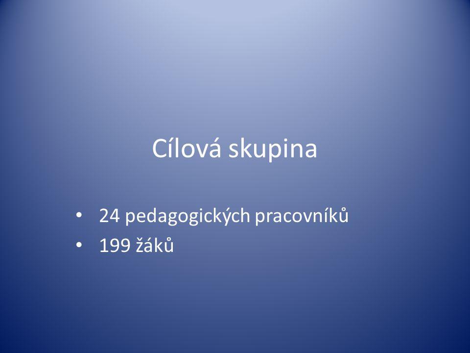 Cílová skupina • 24 pedagogických pracovníků • 199 žáků