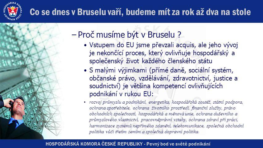 HOSPODÁŘSKÁ KOMORA ČESKÉ REPUBLIKY - Pevný bod ve světě podnikání Co se dnes v Bruselu vaří, budeme mít za rok až dva na stole –Proč musíme být v Bruselu .