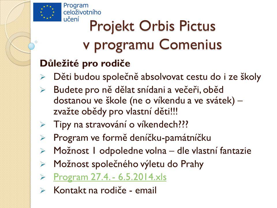 Projekt Orbis Pictus v programu Comenius Důležité pro rodiče  Děti budou společně absolvovat cestu do i ze školy  Budete pro ně dělat snídani a večeři, oběd dostanou ve škole (ne o víkendu a ve svátek) – zvažte obědy pro vlastní děti!!.