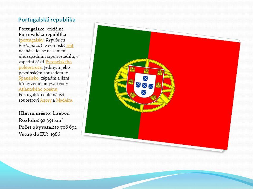Portugalská republika Portugalsko, oficiálně Portugalská republika (portugalsky: República Portuguesa) je evropský stát nacházející se na samém jihozápadním cípu světadílu, v západní části Pyrenejského poloostrova.