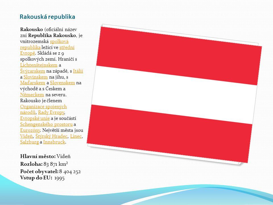 Rakouská republika Rakousko (oficiální název zní Republika Rakousko, je vnitrozemská spolková republika ležící ve střední Evropě.