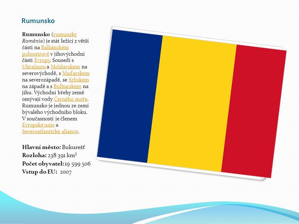 Rumunsko Rumunsko (rumunsky România) je stát ležící z větší části na Balkánském poloostrově v jihovýchodní části Evropy.