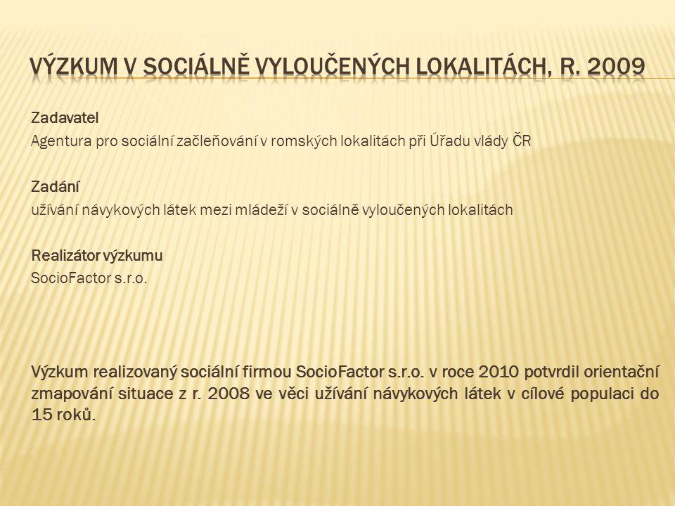 Zadavatel Agentura pro sociální začleňování v romských lokalitách při Úřadu vlády ČR Zadání užívání návykových látek mezi mládeží v sociálně vyloučený