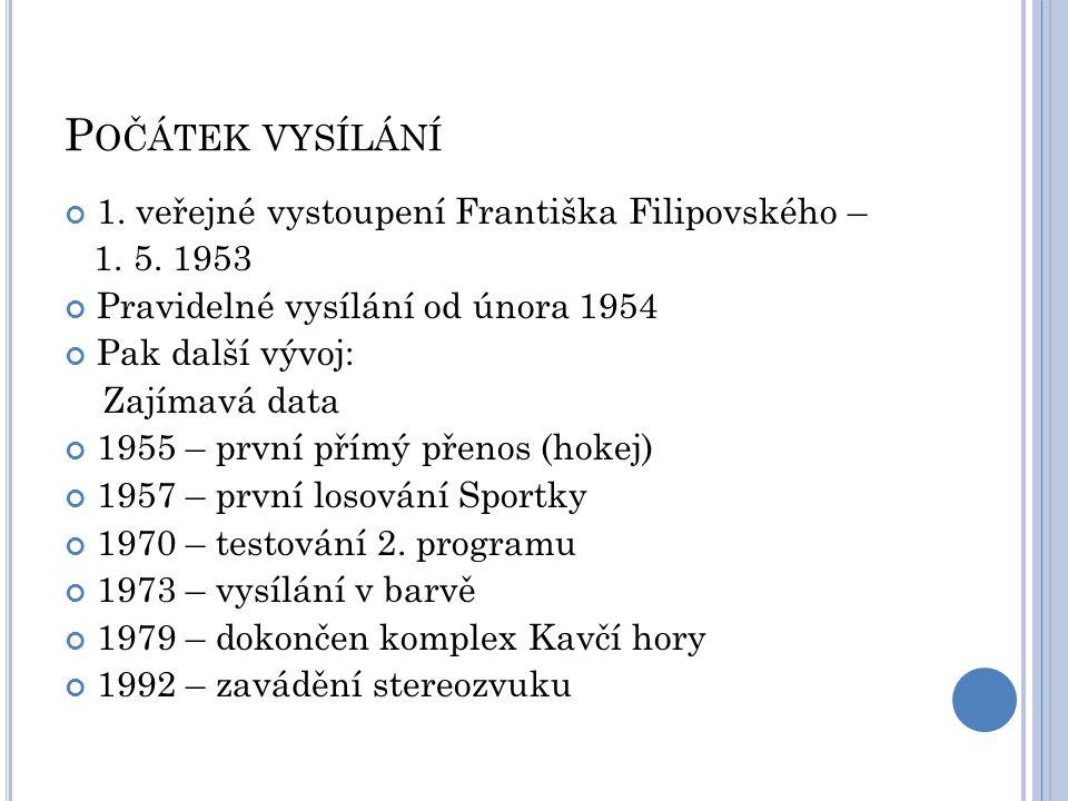 P OČÁTEK VYSÍLÁNÍ 1. veřejné vystoupení Františka Filipovského – 1. 5. 1953 Pravidelné vysílání od února 1954 Pak další vývoj: Zajímavá data 1955 – pr