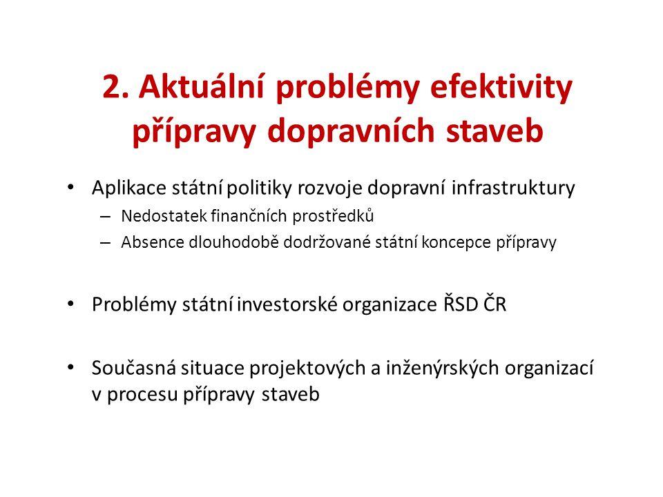 2. Aktuální problémy efektivity přípravy dopravních staveb • Aplikace státní politiky rozvoje dopravní infrastruktury – Nedostatek finančních prostřed