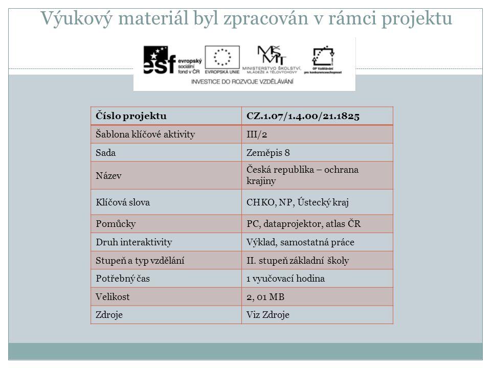 Výukový materiál byl zpracován v rámci projektu Číslo projektuCZ.1.07/1.4.00/21.1825 Šablona klíčové aktivityIII/2 SadaZeměpis 8 Název Česká republika