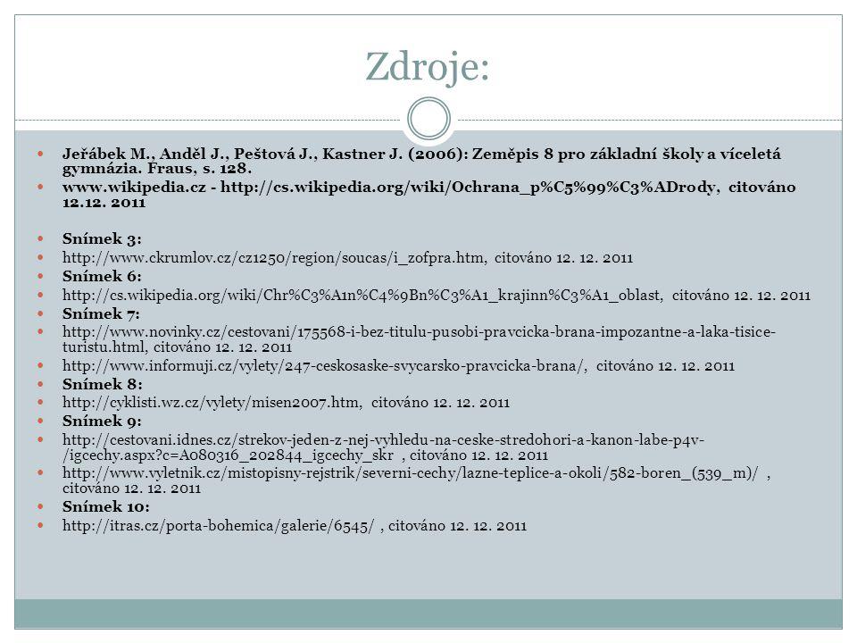 Zdroje:  Jeřábek M., Anděl J., Peštová J., Kastner J. (2006): Zeměpis 8 pro základní školy a víceletá gymnázia. Fraus, s. 128.  www.wikipedia.cz - h