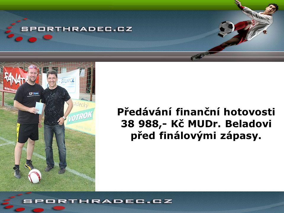 Předávání finanční hotovosti 38 988,- Kč MUDr. Beladovi před finálovými zápasy.