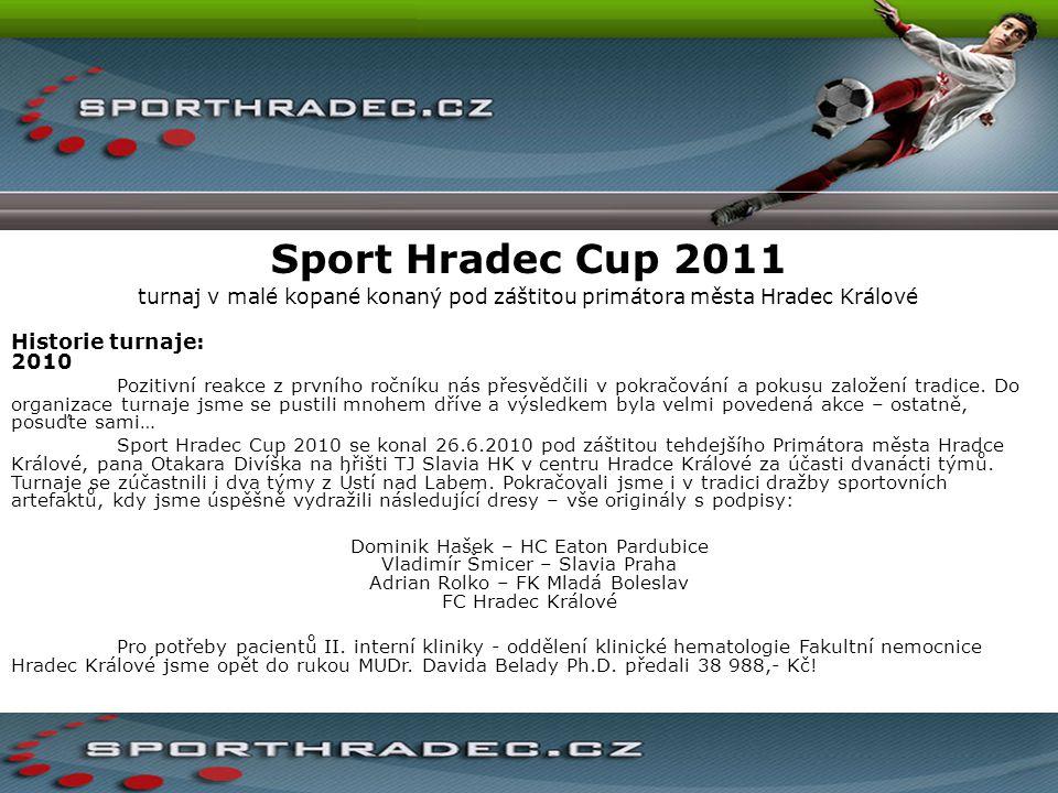 Sport Hradec Cup 2011 turnaj v malé kopané konaný pod záštitou primátora města Hradec Králové Historie turnaje: 2010 Pozitivní reakce z prvního ročník