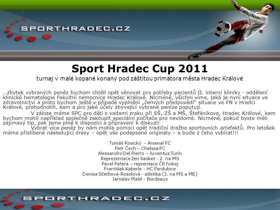 Sport Hradec Cup 2011 turnaj v malé kopané konaný pod záštitou primátora města Hradec Králové …zbytek vybraných peněz bychom chtěli opět věnovat pro p
