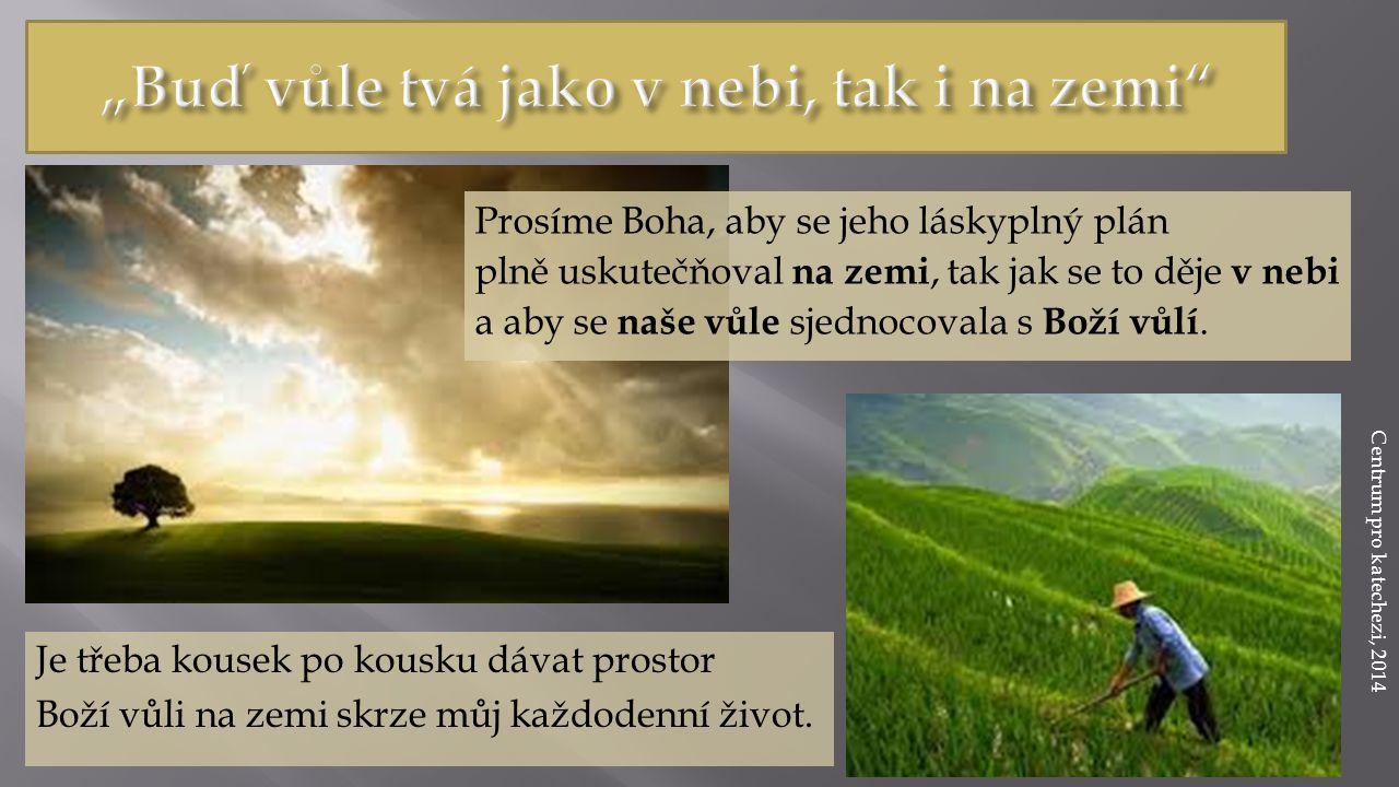 Prosíme Boha, aby se jeho láskyplný plán plně uskutečňoval na zemi, tak jak se to děje v nebi a aby se naše vůle sjednocovala s Boží vůlí.