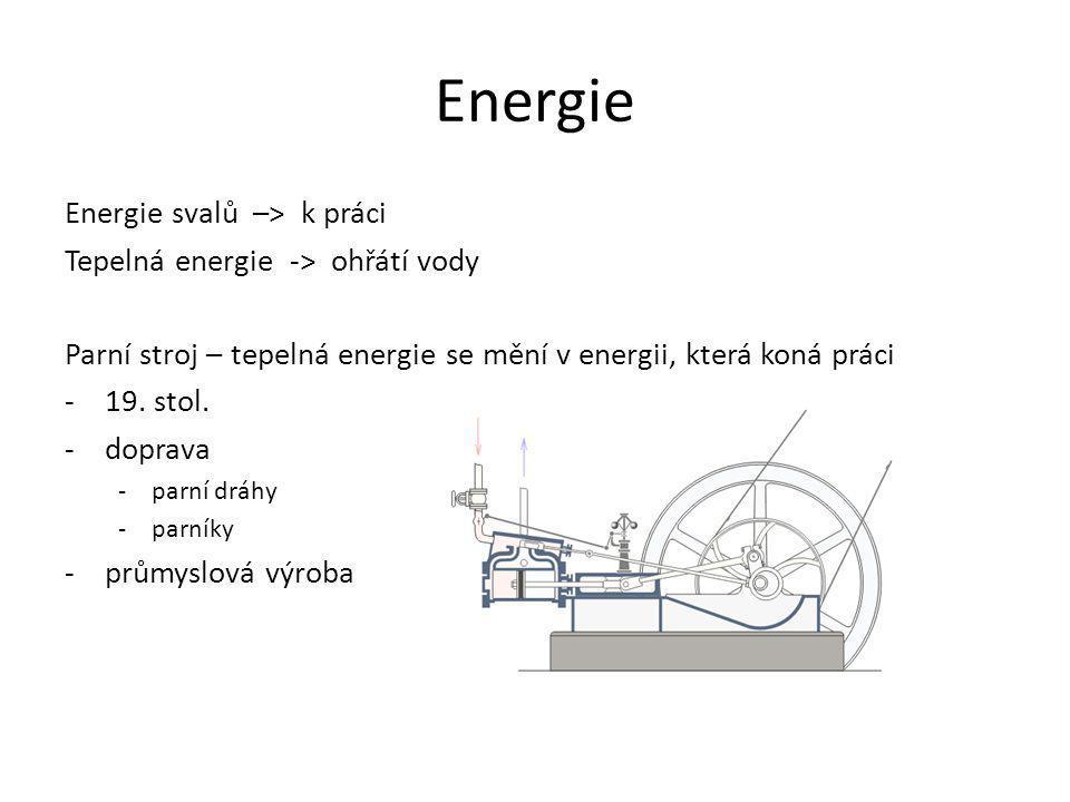 Energie Energie svalů –> k práci Tepelná energie -> ohřátí vody Parní stroj – tepelná energie se mění v energii, která koná práci -19. stol. -doprava