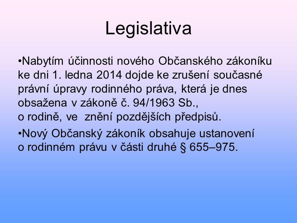 Legislativa • Nabytím účinnosti nového Občanského zákoníku ke dni 1. ledna 2014 dojde ke zrušení současné právní úpravy rodinného práva, která je dnes