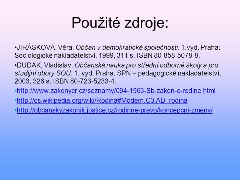 Použité zdroje: • JIRÁSKOVÁ, Věra. Občan v demokratické společnosti. 1.vyd. Praha: Sociologické nakladatelství, 1999, 311 s. ISBN 80-858-5078-8. • DUD