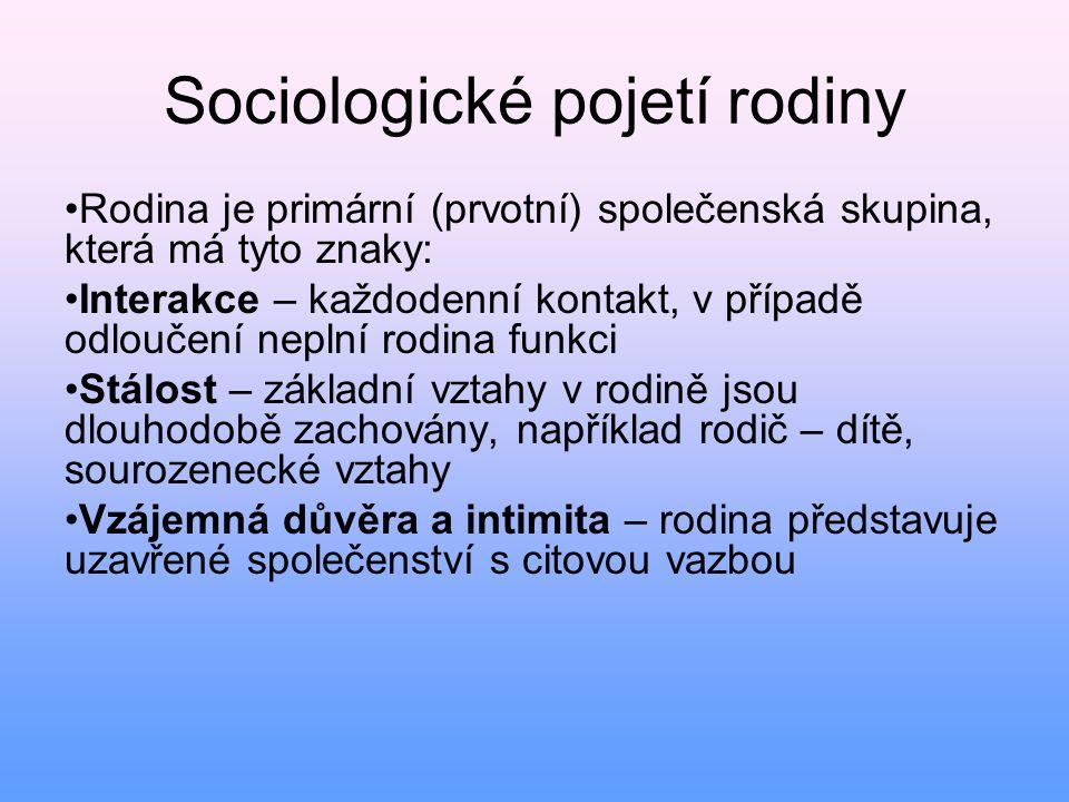 Sociologické pojetí rodiny • Rodina je primární (prvotní) společenská skupina, která má tyto znaky: • Interakce – každodenní kontakt, v případě odlouč