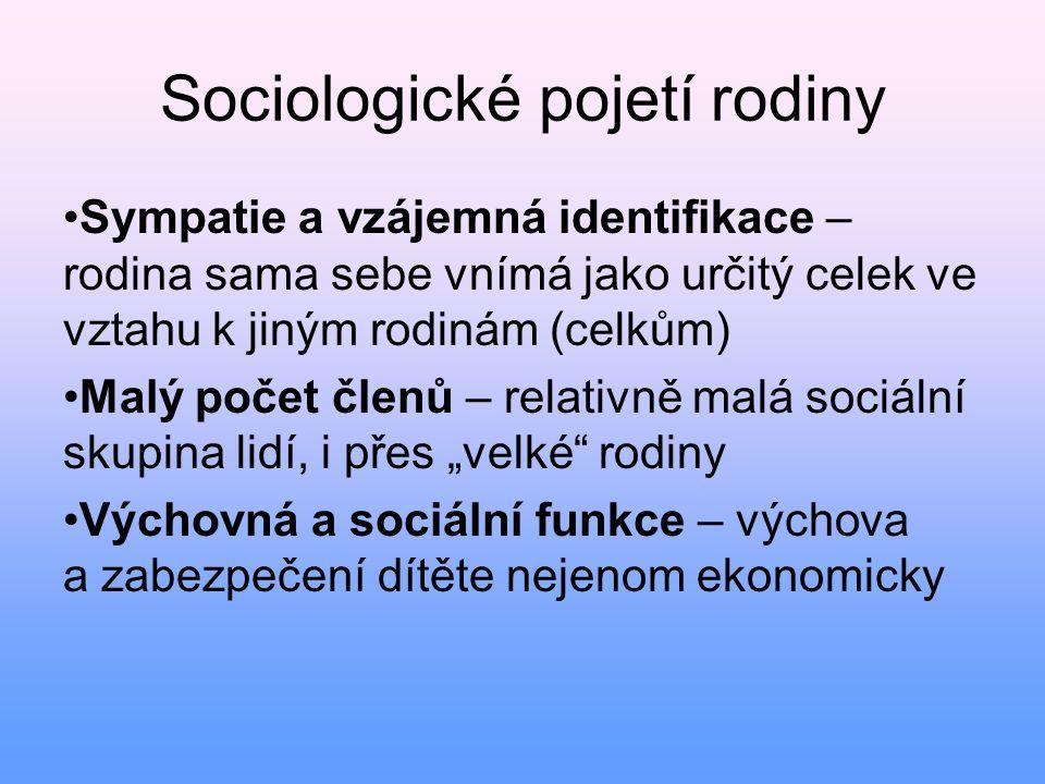 Sociologické pojetí rodiny • Sympatie a vzájemná identifikace – rodina sama sebe vnímá jako určitý celek ve vztahu k jiným rodinám (celkům) • Malý poč