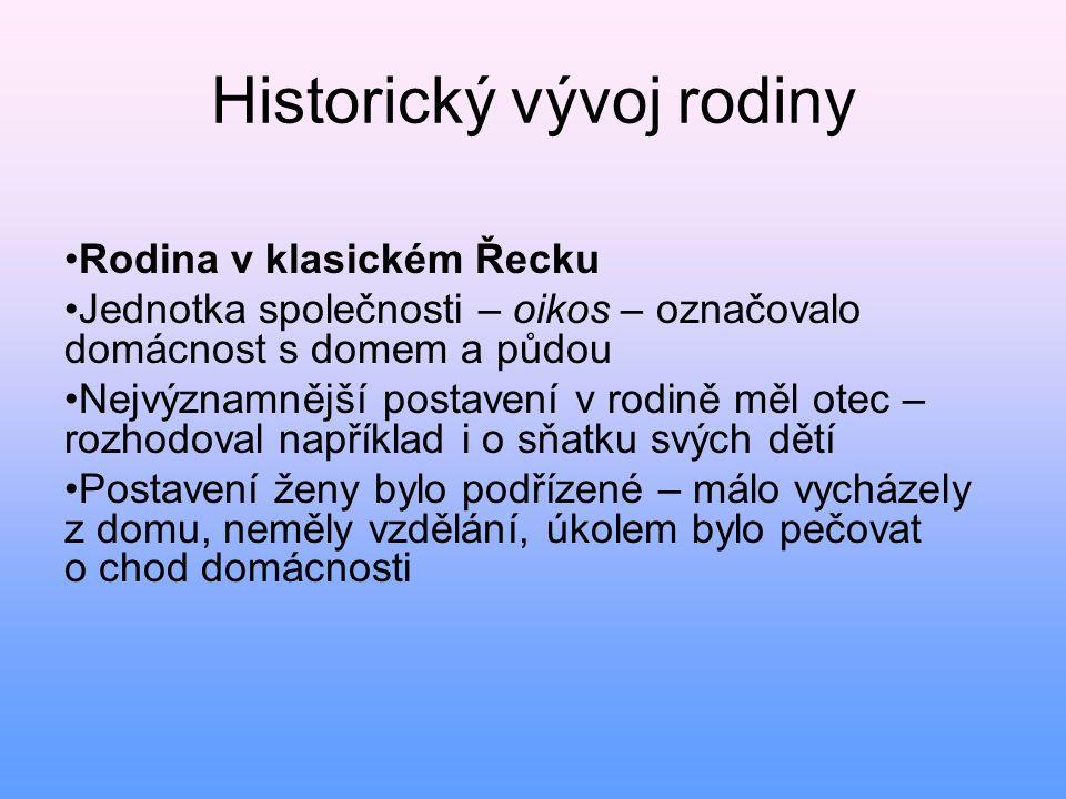 Historický vývoj rodiny • Rodina v klasickém Řecku • Jednotka společnosti – oikos – označovalo domácnost s domem a půdou • Nejvýznamnější postavení v