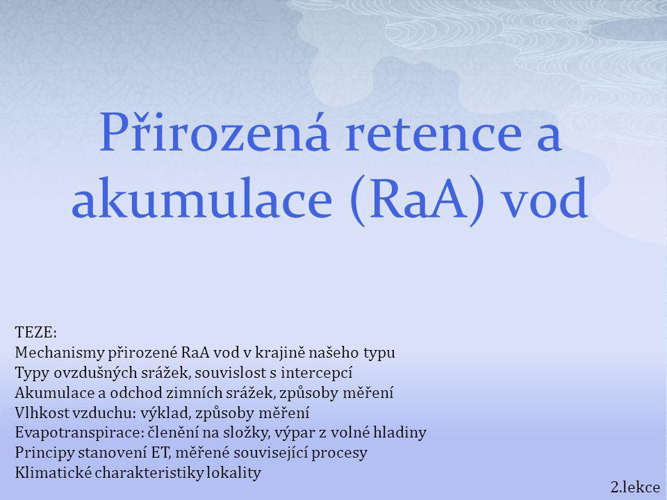 Přirozená retence a akumulace (RaA) vod 2.lekce TEZE: Mechanismy přirozené RaA vod v krajině našeho typu Typy ovzdušných srážek, souvislost s intercep
