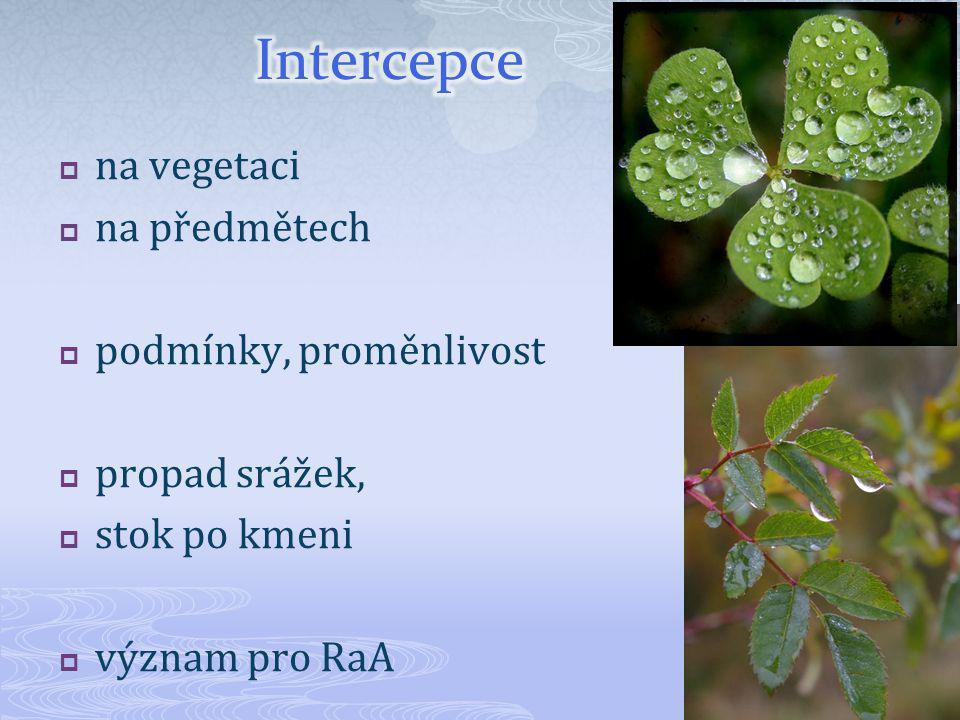  na vegetaci  na předmětech  podmínky, proměnlivost  propad srážek,  stok po kmeni  význam pro RaA