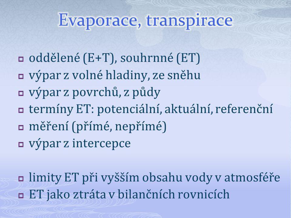  oddělené (E+T), souhrnné (ET)  výpar z volné hladiny, ze sněhu  výpar z povrchů, z půdy  termíny ET: potenciální, aktuální, referenční  měření (