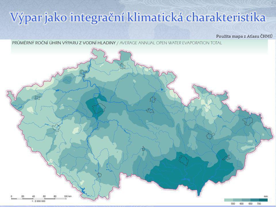 Použita mapa z Atlasu ČHMÚ