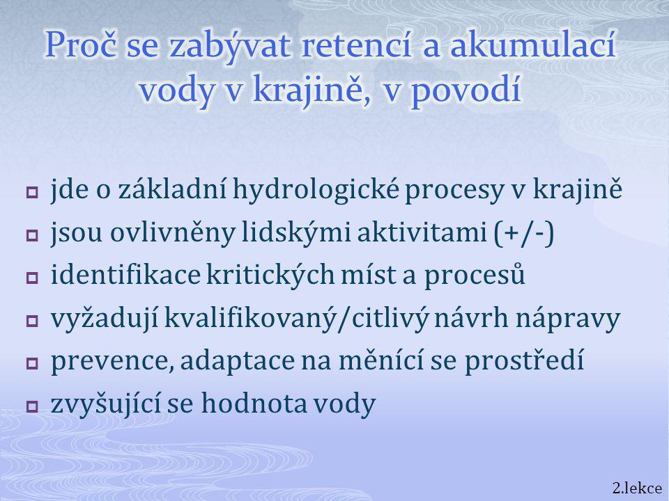  jde o základní hydrologické procesy v krajině  jsou ovlivněny lidskými aktivitami (+/-)  identifikace kritických míst a procesů  vyžadují kvalifi