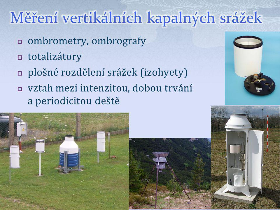  ombrometry, ombrografy  totalizátory  plošné rozdělení srážek (izohyety)  vztah mezi intenzitou, dobou trvání a periodicitou deště