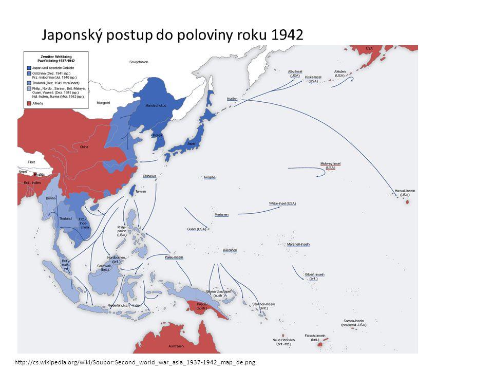 Japonský postup do poloviny roku 1942 http://cs.wikipedia.org/wiki/Soubor:Second_world_war_asia_1937-1942_map_de.png
