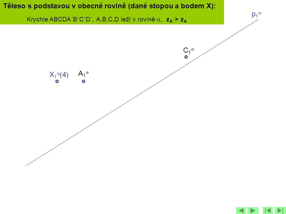 p1p1 X 1   C1C1 Těleso s podstavou v obecné rovině (dané stopou a bodem X): Krychle ABCDA´B´C´D´, A,B,C,D leží v rovině , z A´ > z A A1A1