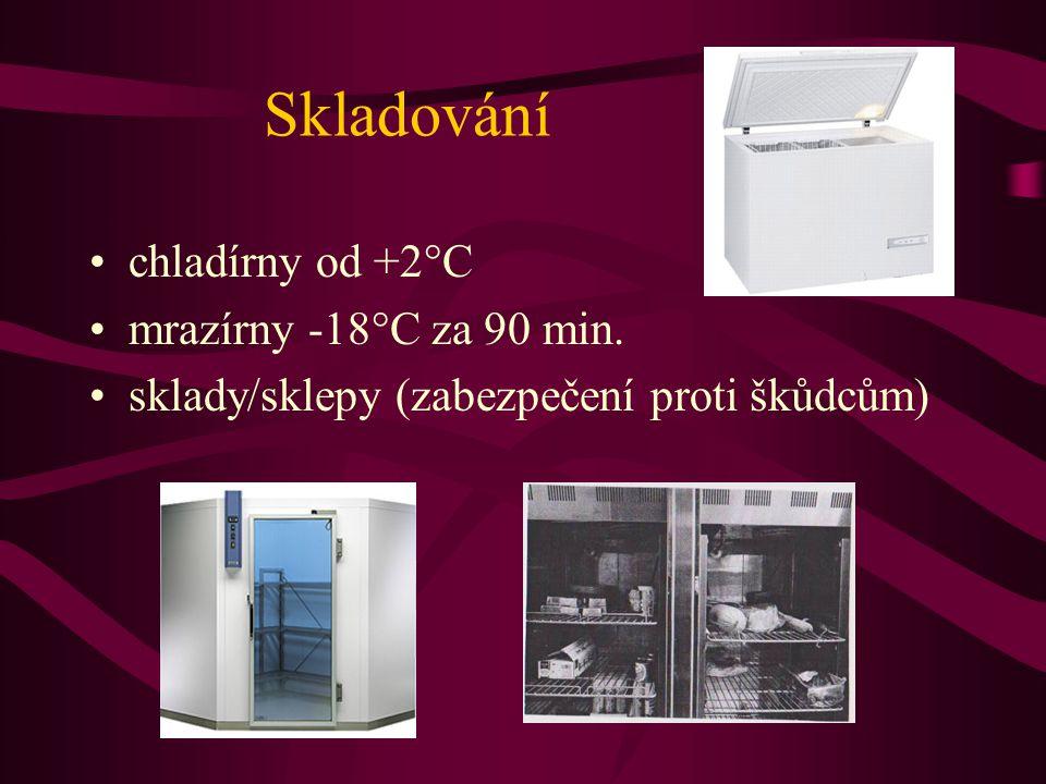 Skladování •chladírny od +2°C •mrazírny -18°C za 90 min. •sklady/sklepy (zabezpečení proti škůdcům)