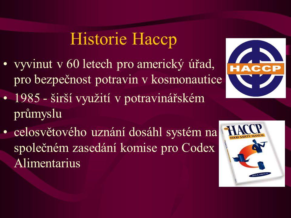 Historie Haccp •vyvinut v 60 letech pro americký úřad, pro bezpečnost potravin v kosmonautice •1985 - širší využití v potravinářském průmyslu •celosvětového uznání dosáhl systém na společném zasedání komise pro Codex Alimentarius