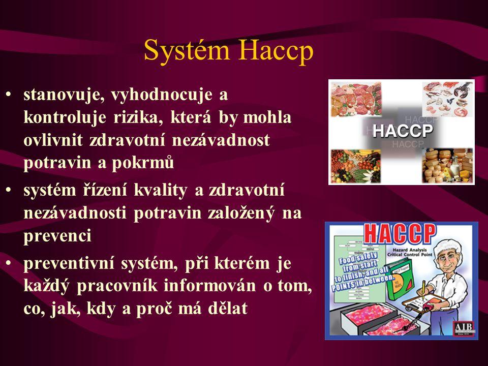 Systém Haccp •stanovuje, vyhodnocuje a kontroluje rizika, která by mohla ovlivnit zdravotní nezávadnost potravin a pokrmů •systém řízení kvality a zdravotní nezávadnosti potravin založený na prevenci •preventivní systém, při kterém je každý pracovník informován o tom, co, jak, kdy a proč má dělat