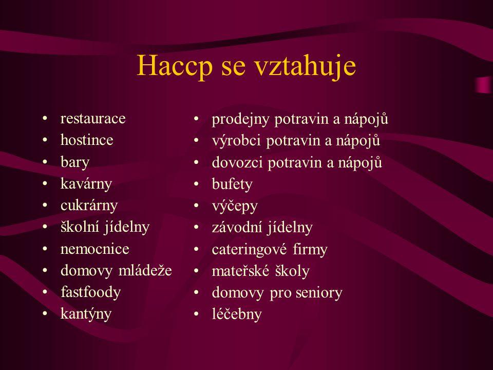 Haccp se vztahuje •restaurace •hostince •bary •kavárny •cukrárny •školní jídelny •nemocnice •domovy mládeže •fastfoody •kantýny •prodejny potravin a n