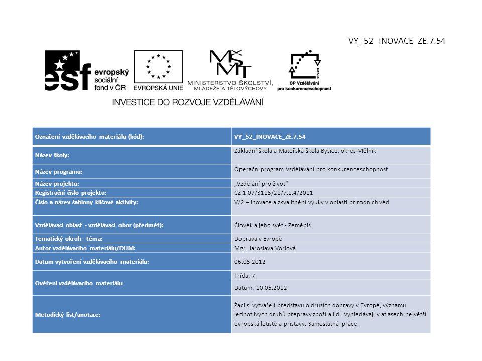 Označení vzdělávacího materiálu (kód):VY_52_INOVACE_ZE.7.54 Název školy: Základní škola a Mateřská škola Byšice, okres Mělník Název programu: Operační
