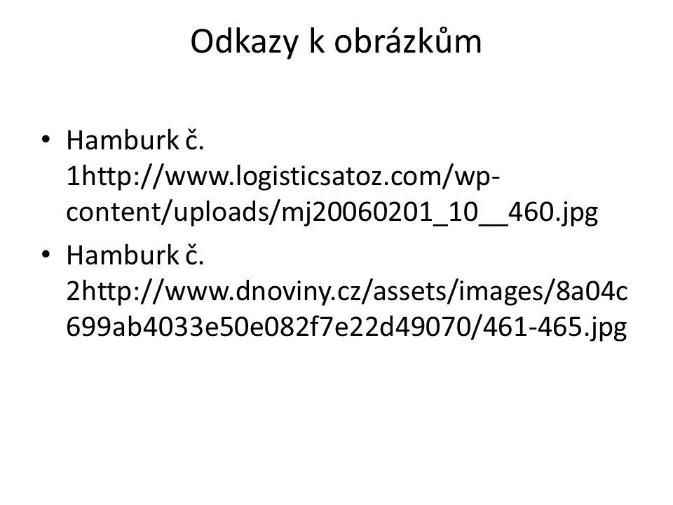 Odkazy k obrázkům • Hamburk č. 1http://www.logisticsatoz.com/wp- content/uploads/mj20060201_10__460.jpg • Hamburk č. 2http://www.dnoviny.cz/assets/ima