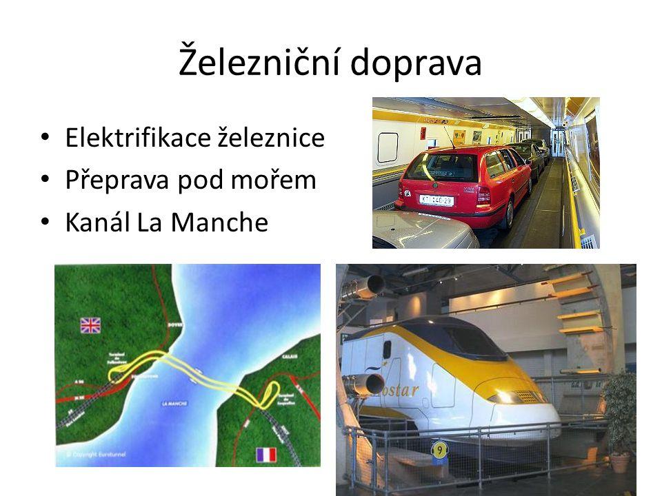 Železniční doprava • Elektrifikace železnice • Přeprava pod mořem • Kanál La Manche