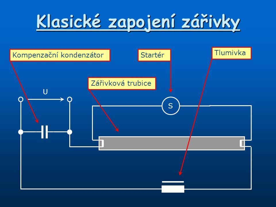 Klasické zapojení zářivky S U Kompenzační kondenzátorStartér Zářivková trubice Tlumivka
