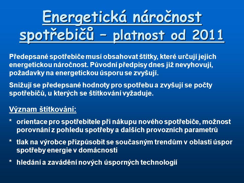 Energetická náročnost spotřebičů – platnost od 2011 Předepsané spotřebiče musí obsahovat štítky, které určují jejich energetickou náročnost. Původní p