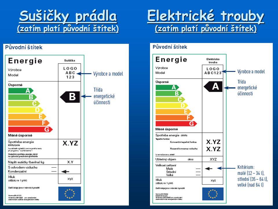 Sušičky prádla (zatím platí původní štítek) Elektrické trouby (zatím platí původní štítek)