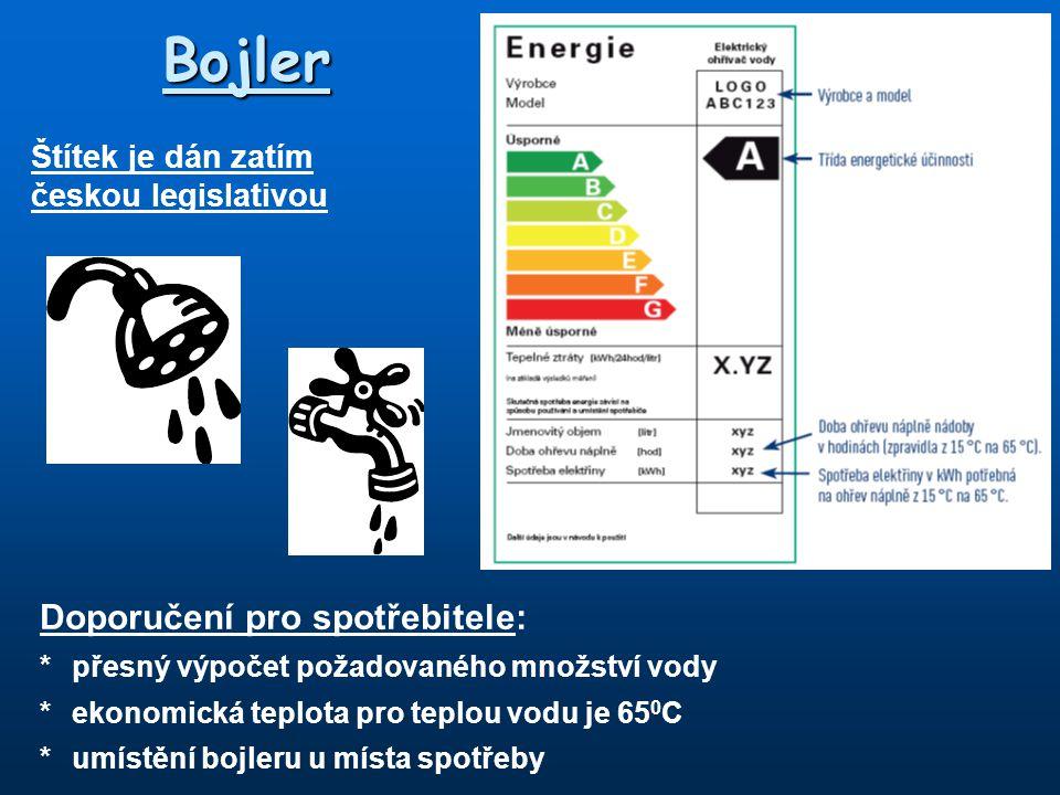 Štítek je dán zatím českou legislativou Bojler Doporučení pro spotřebitele: *přesný výpočet požadovaného množství vody *ekonomická teplota pro teplou