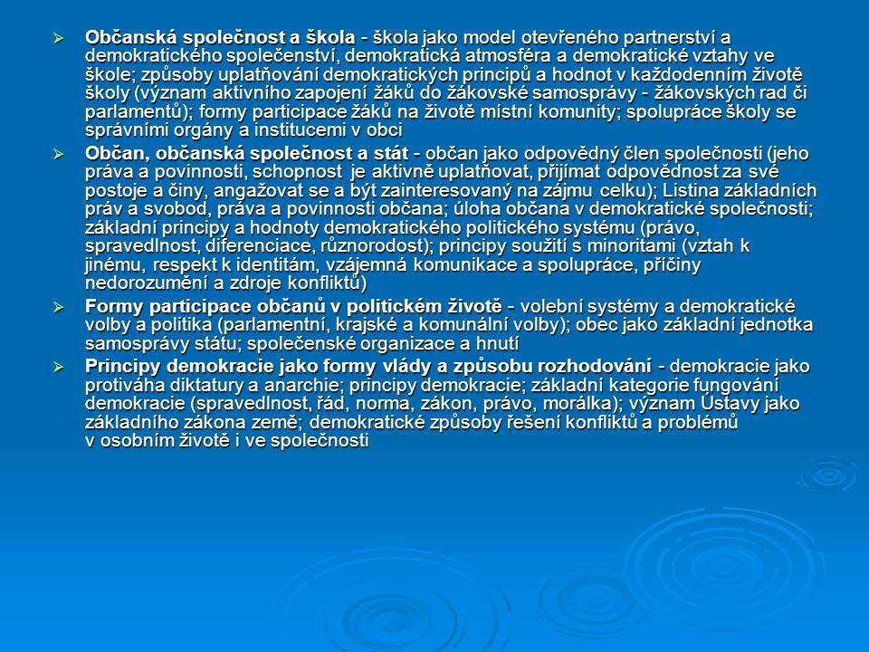  Občanská společnost a škola - škola jako model otevřeného partnerství a demokratického společenství, demokratická atmosféra a demokratické vztahy ve škole; způsoby uplatňování demokratických principů a hodnot v každodenním životě školy (význam aktivního zapojení žáků do žákovské samosprávy - žákovských rad či parlamentů); formy participace žáků na životě místní komunity; spolupráce školy se správními orgány a institucemi v obci  Občan, občanská společnost a stát - občan jako odpovědný člen společnosti (jeho práva a povinnosti, schopnost je aktivně uplatňovat, přijímat odpovědnost za své postoje a činy, angažovat se a být zainteresovaný na zájmu celku); Listina základních práv a svobod, práva a povinnosti občana; úloha občana v demokratické společnosti; základní principy a hodnoty demokratického politického systému (právo, spravedlnost, diferenciace, různorodost); principy soužití s minoritami (vztah k jinému, respekt k identitám, vzájemná komunikace a spolupráce, příčiny nedorozumění a zdroje konfliktů)  Formy participace občanů v politickém životě - volební systémy a demokratické volby a politika (parlamentní, krajské a komunální volby); obec jako základní jednotka samosprávy státu; společenské organizace a hnutí  Principy demokracie jako formy vlády a způsobu rozhodování - demokracie jako protiváha diktatury a anarchie; principy demokracie; základní kategorie fungování demokracie (spravedlnost, řád, norma, zákon, právo, morálka); význam Ústavy jako základního zákona země; demokratické způsoby řešení konfliktů a problémů v osobním životě i ve společnosti
