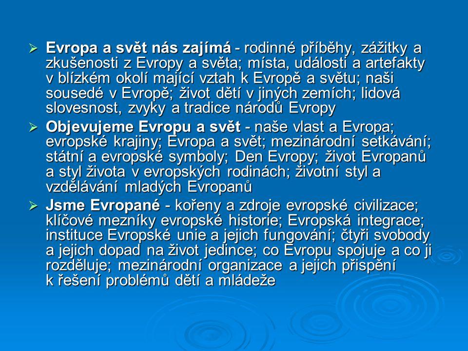  Evropa a svět nás zajímá - rodinné příběhy, zážitky a zkušenosti z Evropy a světa; místa, události a artefakty v blízkém okolí mající vztah k Evropě a světu; naši sousedé v Evropě; život dětí v jiných zemích; lidová slovesnost, zvyky a tradice národů Evropy  Objevujeme Evropu a svět - naše vlast a Evropa; evropské krajiny; Evropa a svět; mezinárodní setkávání; státní a evropské symboly; Den Evropy; život Evropanů a styl života v evropských rodinách; životní styl a vzdělávání mladých Evropanů  Jsme Evropané - kořeny a zdroje evropské civilizace; klíčové mezníky evropské historie; Evropská integrace; instituce Evropské unie a jejich fungování; čtyři svobody a jejich dopad na život jedince; co Evropu spojuje a co ji rozděluje; mezinárodní organizace a jejich přispění k řešení problémů dětí a mládeže