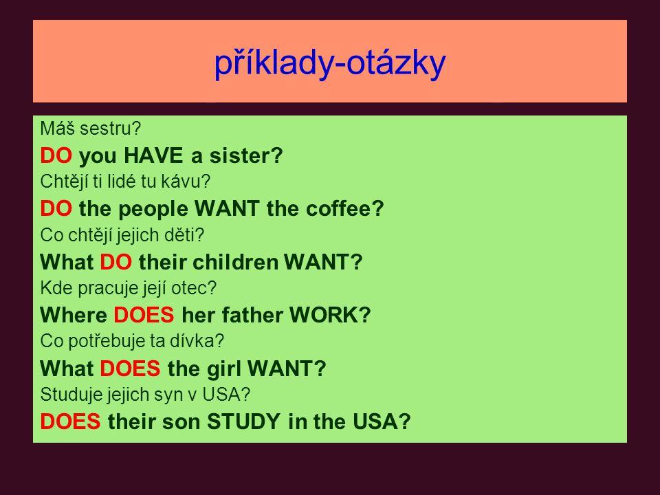 příklady-otázky Máš sestru? DO you HAVE a sister? Chtějí ti lidé tu kávu? DO the people WANT the coffee? Co chtějí jejich děti? What DO their children