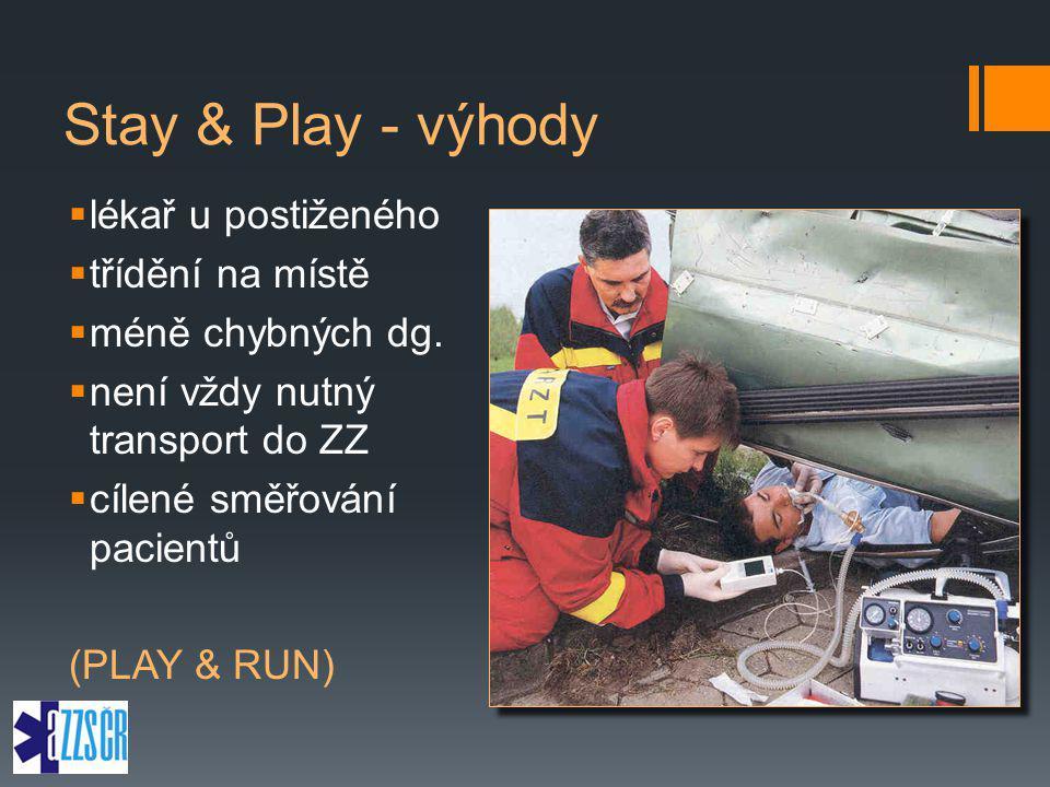 Stay & Play - výhody  lékař u postiženého  třídění na místě  méně chybných dg.  není vždy nutný transport do ZZ  cílené směřování pacientů (PLAY