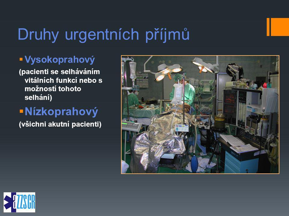 Druhy urgentních příjmů  Vysokoprahový (pacienti se selháváním vitálních funkcí nebo s možností tohoto selhání)  Nízkoprahový (všichni akutní pacien